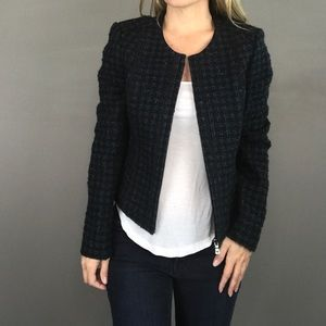 Tory Burch blue tweed zip up blazer jacket sz 6